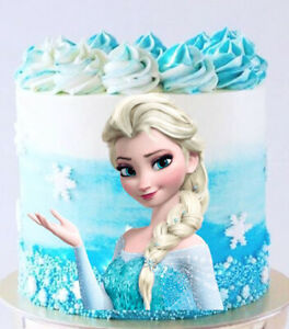 PRE-CUT Disney Frozen Elsa Cake Topper Image Edible Icing Birthday Cake Party
