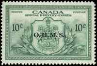 Canada #EO1 mint VF OG NH 1959 Special Delivery 10c green OHMS Overprint