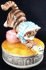 Beatrix Potter Miss Moppet Music Box Schmid Cat Mouse 1990 Vintage Figurine