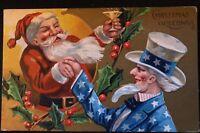 ~Uncle Sam & SANTA CLAUS~ Antique Patriotic Christmas Santa Postcard-p-884