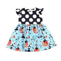 NWT Pumpkin Halloween Girls Short Sleeve Black Polka Dot Blue Dress 2T 3T 4T 5T