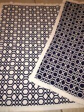 Pottery Barn Kids Baby Blanket Knit Geometric Pattern White Blue 100% Cotton