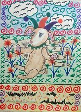 The Velveteen Jester Rabbit 8 x 10 Signed Art Print Outsider Folk Art By Artist