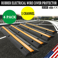 4pcs 1-Channel Rubber Electrical Wire Cover Protector Ramp Snake Cord Vehicle