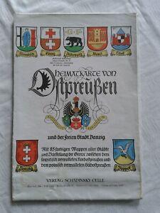 Heimatkarte von Ostpreußen und der freien Stadt Danzig, 85 Wappen aller Städte