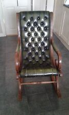 Chesterfield Antique Old Vintage Rocking Chair Rare Soft Green Leather