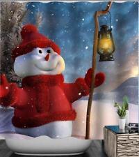 Natale PUPAZZO DI NEVE CAPPELLO ROSSO Maglione al di fuori di Natale Neve Tenda Da Doccia Bagno