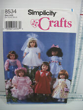 """Simplicity Crafts Pattern 8534 18"""" Doll Dresses Clothes Fit American Girl Battat"""