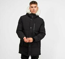 Brave Soul - Wayland Paris White Fur Parka Jacket (Black) Mens