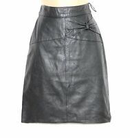 VTG Dark Grey 100% Real Leather High Waist Pencil Knee Ladies Skirt size UK 6 8