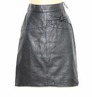 VTG Dark Grey 100% Real Leather High Waist Pencil Knee Ladies Skirt size UK 6 8
