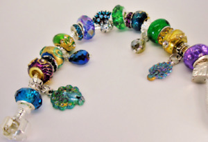 Peacock Feathers European hand painted charms Murano beads bracelet crystals