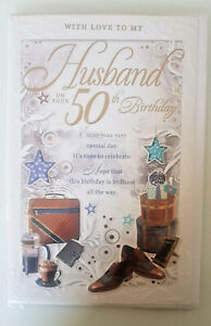 HUSBAND  50TH BIRTHDAY CARD LUXURY FOIL AND EMBOSS FINISH STUNNING 3 PAGES