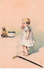 Vintage color postcard baby and dog