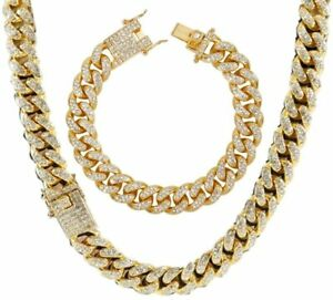 Men's 12MM 14MM 20MM Chains 18K Gold Plated CZ Fully Iced-Out Miami Cuban Neckla