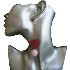 Womens Red Wooden Heart Pink Velour Ball Gold-Tone Chains Dangle Hook Earrings