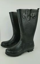 "Fashion Bug Women's Size 9 W Black Buckle Rubber Embossed Snake Rain Boots 14.5"""