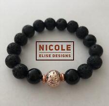 Aromatherapy diffuser bracelet lava stones Black Agate 10mm essential oil Rose