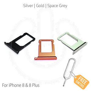 Replacement Nano Sim Card Tray Slot Holder for Apple iPhone 8 & iPhone 8 Plus +
