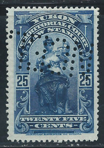 Canada #YL8(6) PERFIN 1903 25 cent blue YUKON LAW - TERRITORIAL COURT Used CV$4