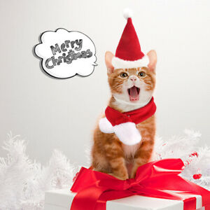 Pet Cat Dog Christmas Hat Scarf Kit for Cats Dogs Puppies Xmas Decoration