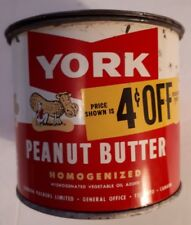 "RARE CANADIAN (TORONTO, ONT) ""YORK PEANUT BUTTER - 4c OFF"" 24 OUNCE TIN W/ LID"