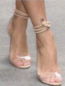 Steve Madden Lyla High Heel Ankle Tie Strap Sandal Shoe Nude Suede 7