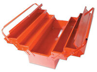 GREAT QUALITY RED PAINTED FINISH METAL TOOLBOX Cantilever 5 Tray LARGE