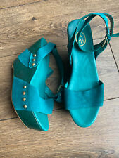 New Ash Sea Foam Green Leather Platform Wedge Ankle Strap Sandals 5 38