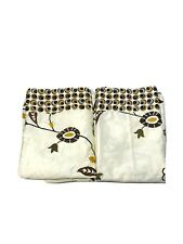 """Pier 1 Imports Discontinued Curtains Panels Drapes Ivory Brown Floral 84"""" Lined"""