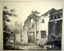 Lavierte TUSCHE-Zeichnung 1843 LE PRIEURE Architekt Ferdinand GOLDMANN signiert