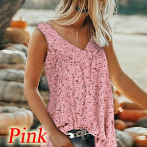 Womens V-Neck Floral Vest Tank Top Ladies Casual Sleeveless Blouse Tee T-Shirt