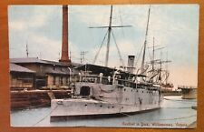 Vintage  WILLIAMSTOWN Navy Naval Gunboat Postcard Australia Pic Photo Australian