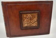 """Italian Leather Photo Album 8 1/2"""" x 6"""" 30 pages with protectors embossed front"""