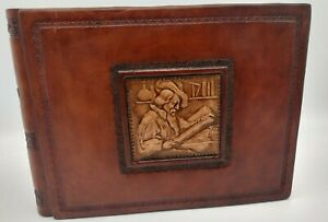 "Italian Leather Photo Album 8 1/2"" x 6"" 30 pages with protectors embossed front"