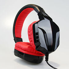 Ct820 Black Red PC Laptop Computer Gaming Headphone OverEar Headband Headset