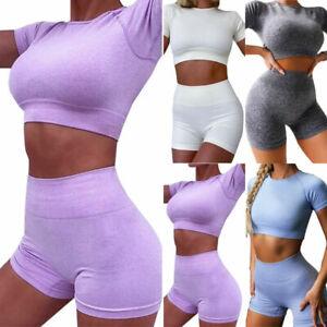 Damen Trainingsanzug Crop Top Kurze Hose Kurzarm Sportanzug Fitness Jogginganzug
