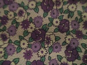 1/2 Yard Darlene Zimmerman for Chanteclaire Purple Floral Cotton Fabric