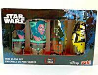 Star Wars Disney zak! Mini Glass Set 2oz - 4 pack Shot Glasses New in Box Gift