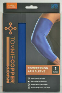 NIB Tommie Copper Sport Compression Arm Sleeve Joint Pain Relief L/XL Royal Blue
