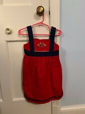 Nwot Hanna Andersson Red Dress with Applique Flowers Size 100