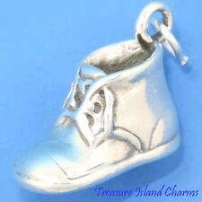 Heavy Large Baby First Shoe Bootie 3D 925 Solid Sterling Silver Charm Engravable