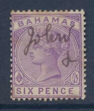 BAHAMAS 1884 QV 6d TONED FISCAL...MALFORMED E VARIETY