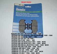 SUZUKI 250 RM125 REAR  BENDIX DISC BRAKE  PADS MA148 NEW