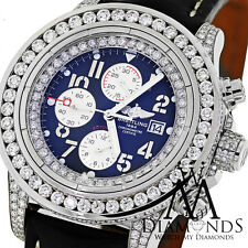 Breitling Super Avenger Blue A13370 15ct Diamond Watch on Leather Strap