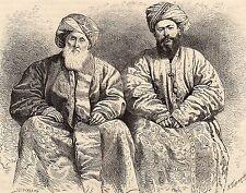 Antique woodcut print :portrait men Uzbekistan Tajikistan / uzbek Tajik man 1880