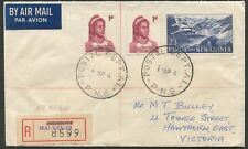 PAPUA NEW GUINEA: MALAHANG: 1964 (Apr.17) reg'd to Melb. 2/3 Plane + 1d pair