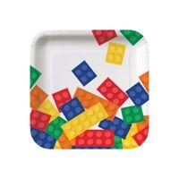 "8 x Block Party 7"" Paper Square Plates Boys Birthday Tableware Supplies Bricks"