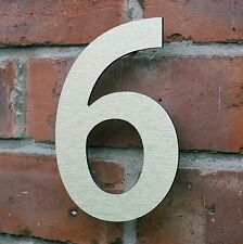 Stylish Modern House Number 6 Brushed Gold Aluminium Composite 6 in (150mm)