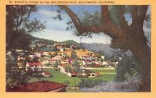 Hollywood California~Residential Panorama~Homes in the Hills~1949 Linen Postcard